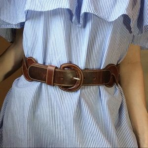 Express Accessories - Express Braided Brown Leather Waist Belt